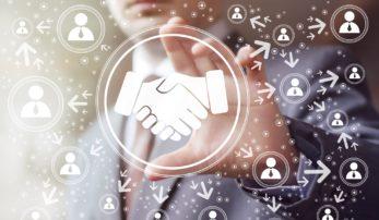 Business handshake online network icon